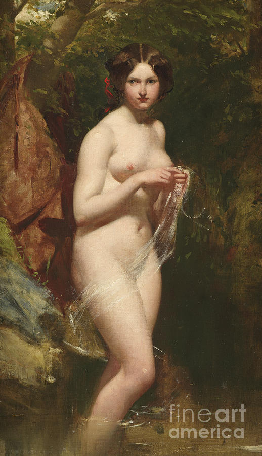 Bathing Painting - Bathing Nude  by William Etty