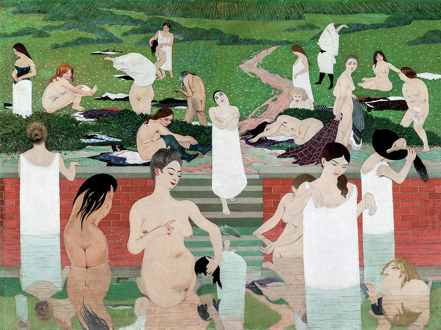Felix Vallotton Painting - Bathing On A Summer Evening, 1893 by Felix Vallotton