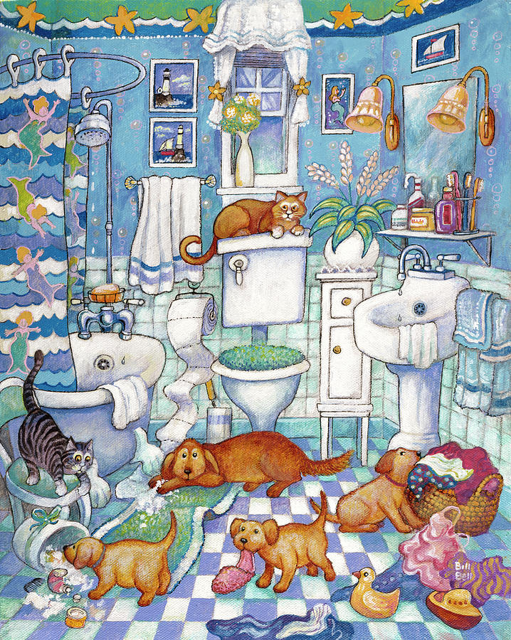 Dogs Painting - Bathroom Pups by Bill Bell