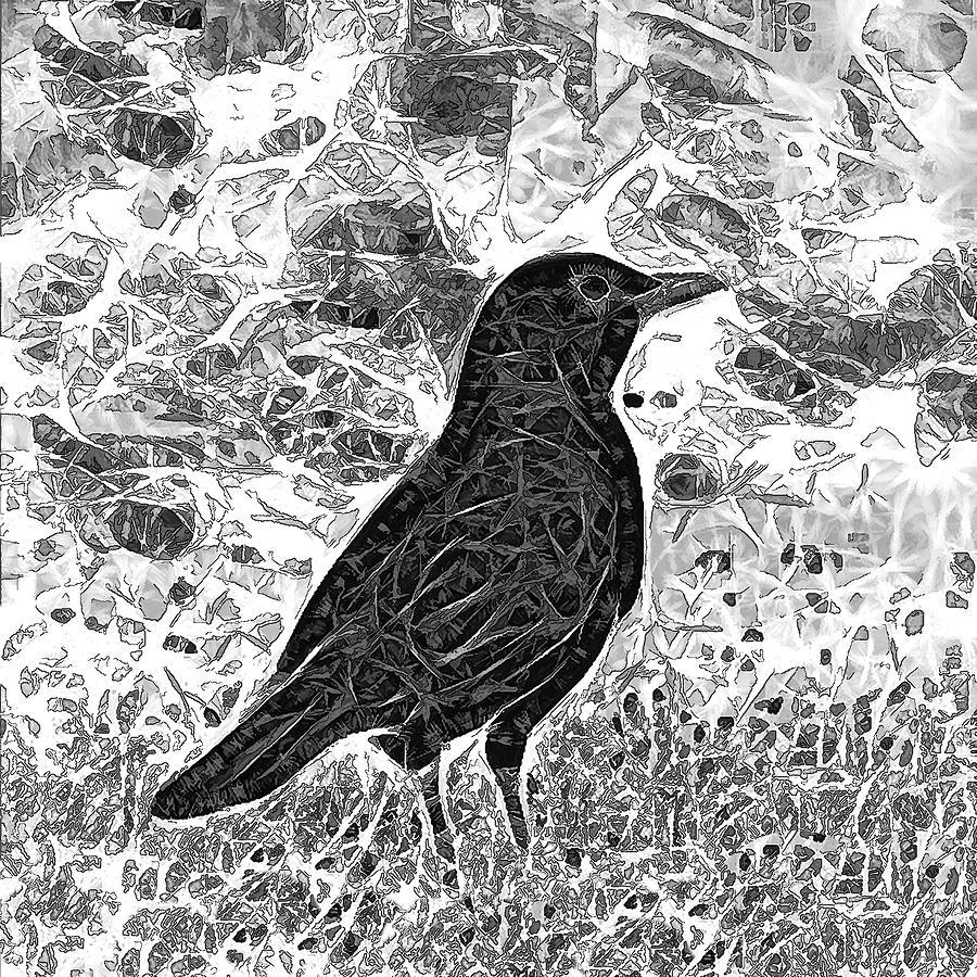 Batik Blackbird by Denise Beverly