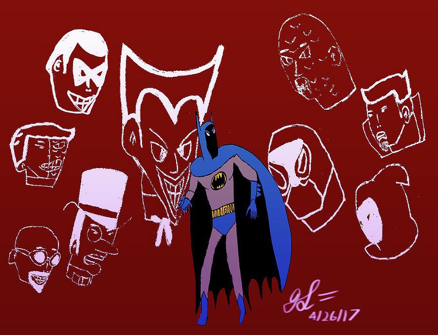 Batman Drawing - Batmans Rogues Gallery by John Lavernoich