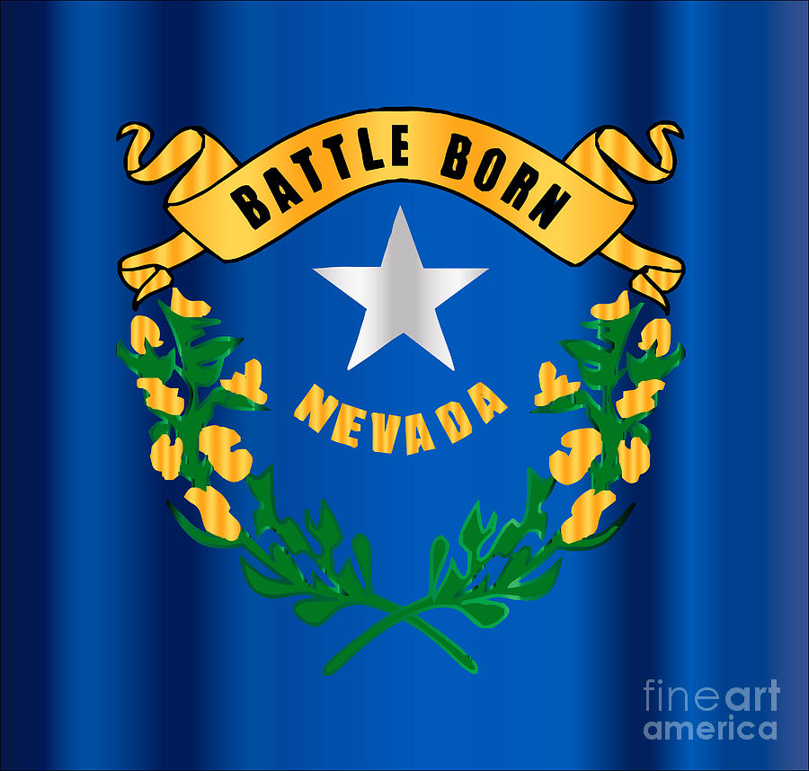 Battle Born Nevada State Flag Motif Digital Art By Bigalbaloo Stock