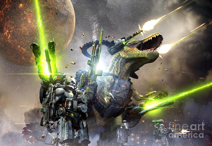 Monstrous Digital Art - Battle Rex And A Team Of Commandos by Herschel Hoffmeyer