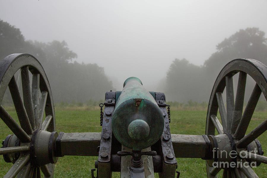 Battlefield Canon In Mist Chancellorsville Virginia Photograph