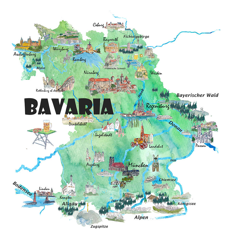 Bavaria Germany Illustrated Travel Poster Map by M Bleichner