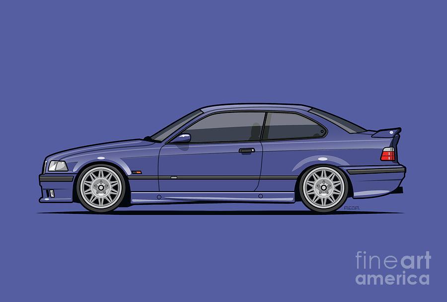 Car Digital Art - Bavarian E36 3-series M-drei Coupe Techno Violet by Tom Mayer