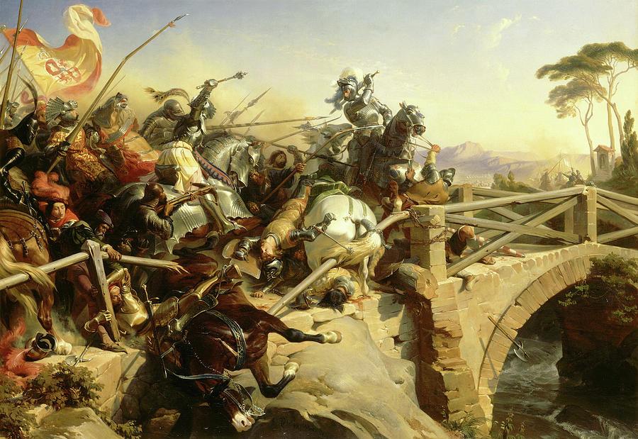 Battle Painting - Bayard defend un pont sur le Garigliano, 1503 by Henri Felix Emmanuel Philippoteaux