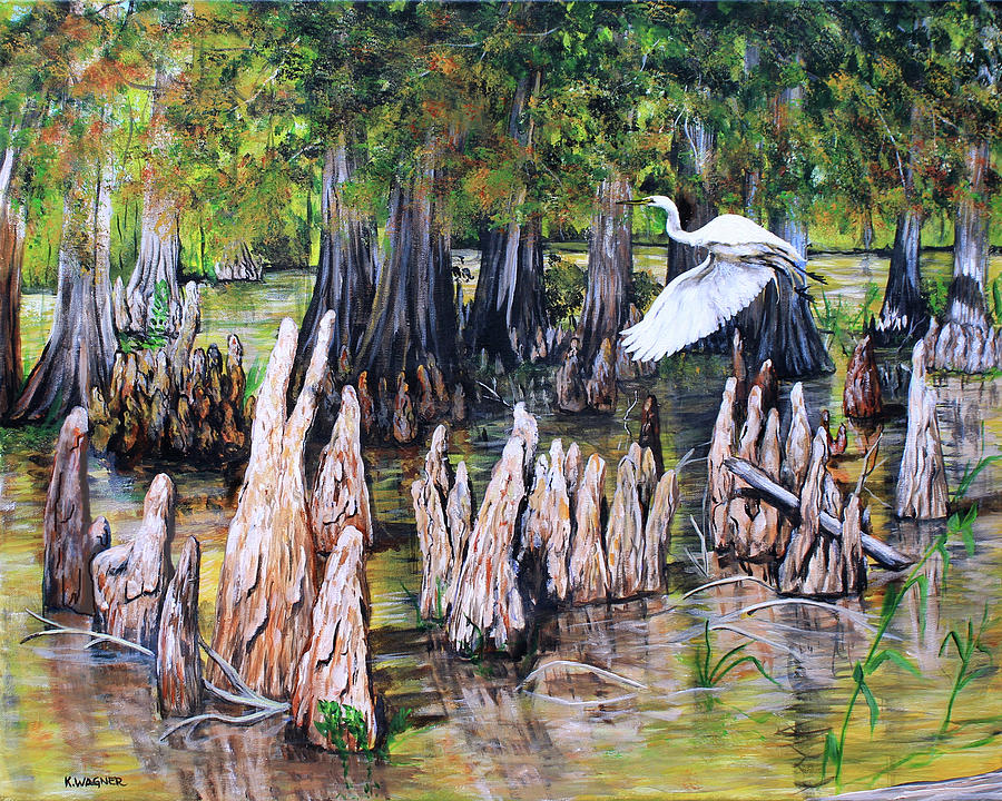 Bayou With Great White Egret by Karl Wagner