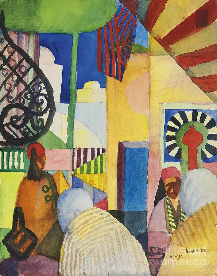Bazaar, 1914. Artist Macke, August Drawing by Heritage Images