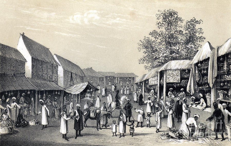 Bazaar At Cabul, In The Fruit Season Drawing by Print Collector