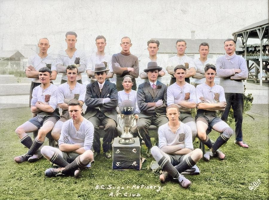 B.C.S.R. AF  amateur football club, soccer team with trophy, 1927 colorized by Ahmet Asar by Ahmet Asar