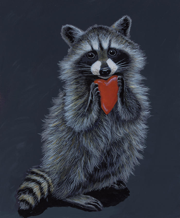 Raccoon Painting - Be Mine by Anthony J Padgett
