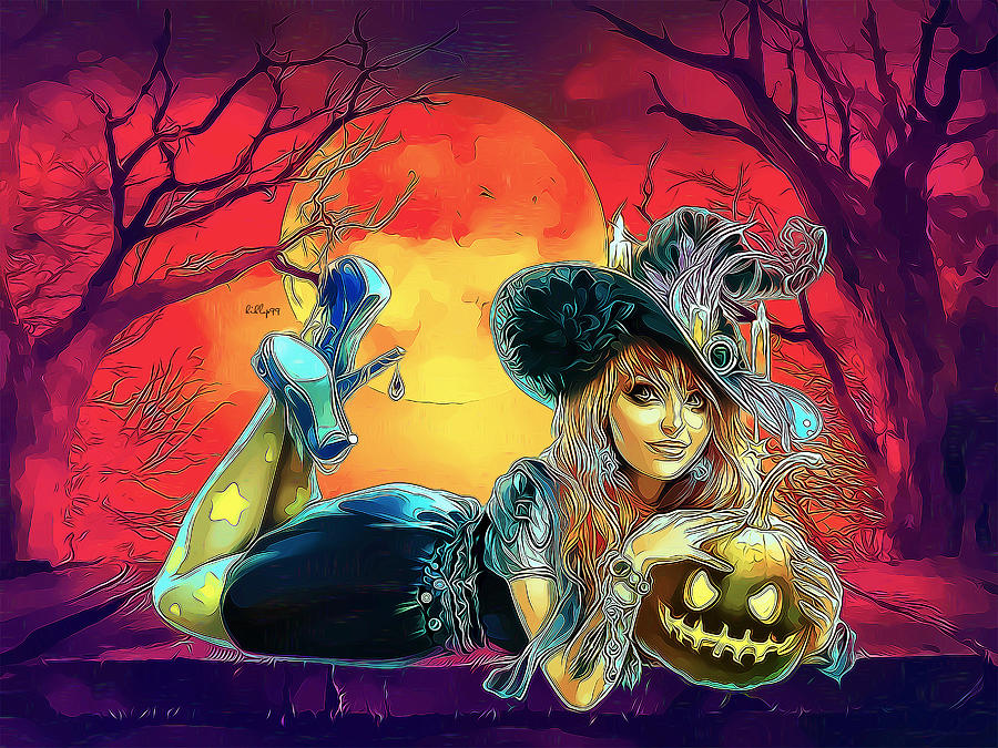 Be My Pumpkins - Halloween Girl Digital Art