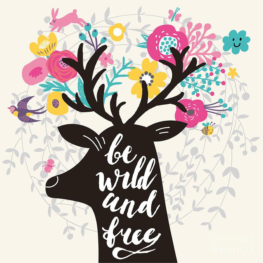 Deer Digital Art - Be Wild And Free. Incredible Deer by Smilewithjul