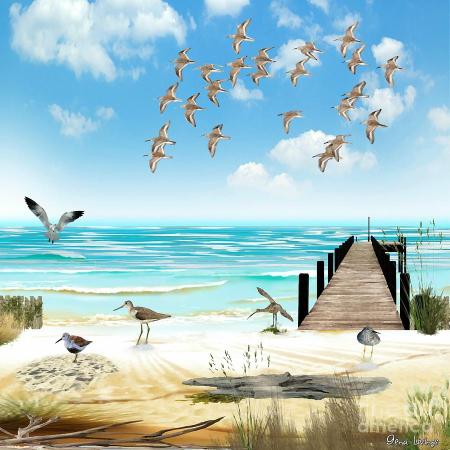 Beach Bird Landing by Gena Livings