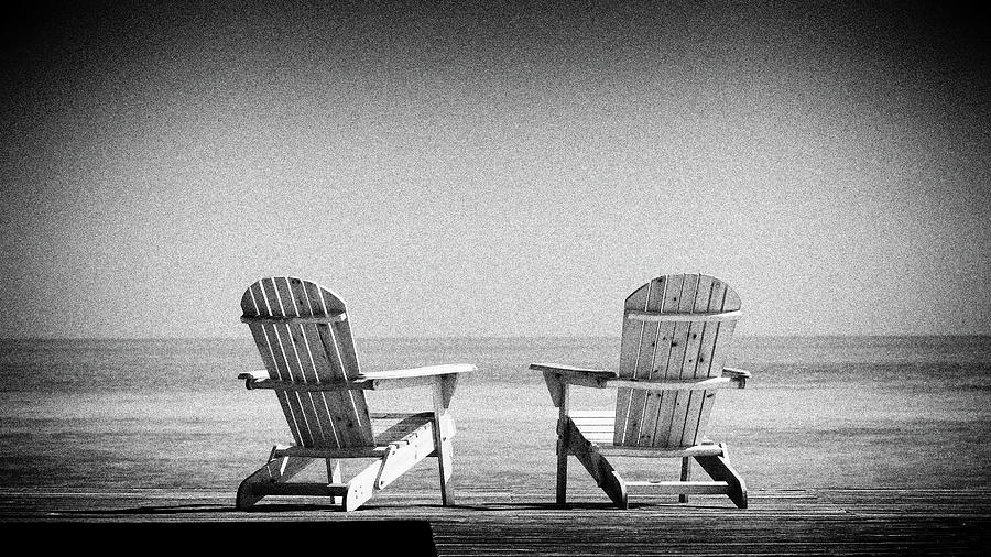 beach chairs in black and white by Rudy Umans