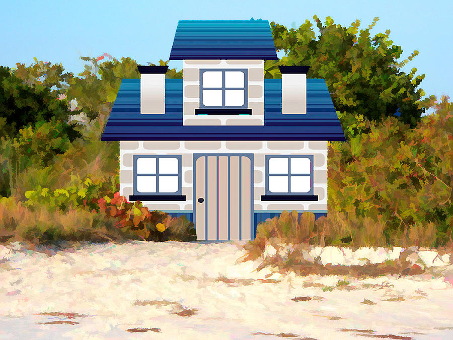Cottage Mixed Media - Beach Cottage by Rosalie Scanlon