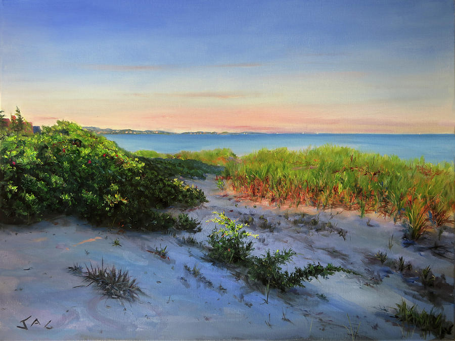 Cape Cod Painting - Beach Grass At Long Beach by Jonathan Guy-Gladding JAG
