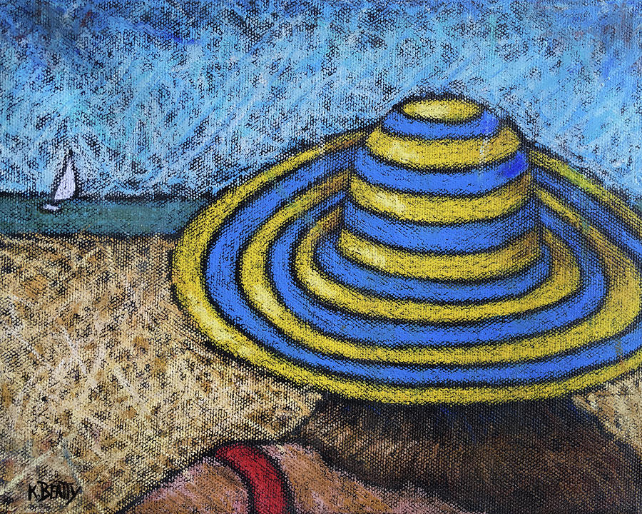 Beach Hat Blue and Yellow by Karla Beatty