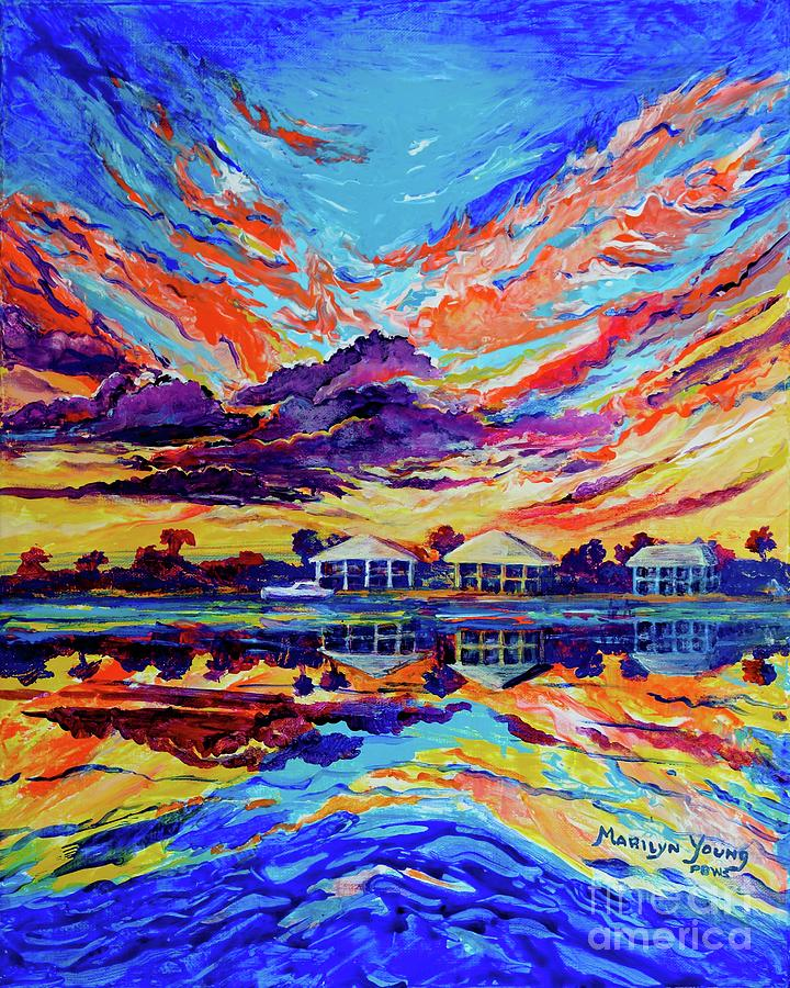 Beach House Reflections Fluid Acrylic by Marilyn Young