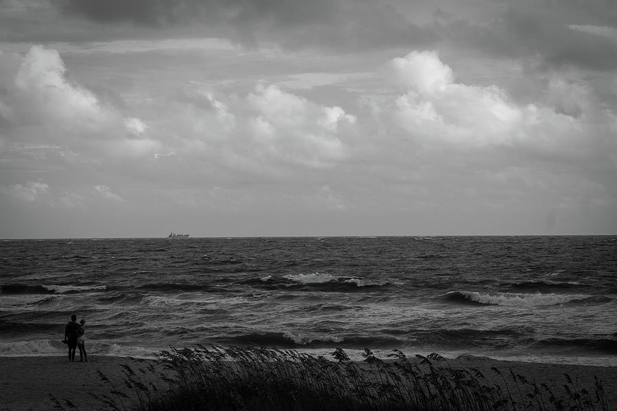Beach In Black And White Photograph