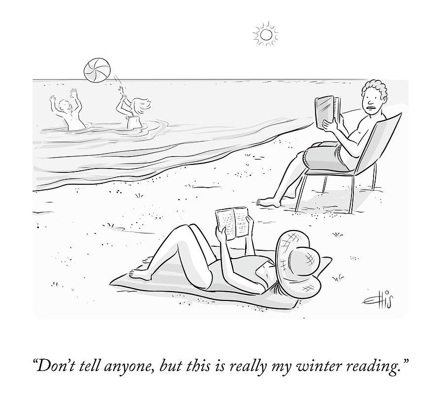 Beach Reading Drawing by Ellis Rosen