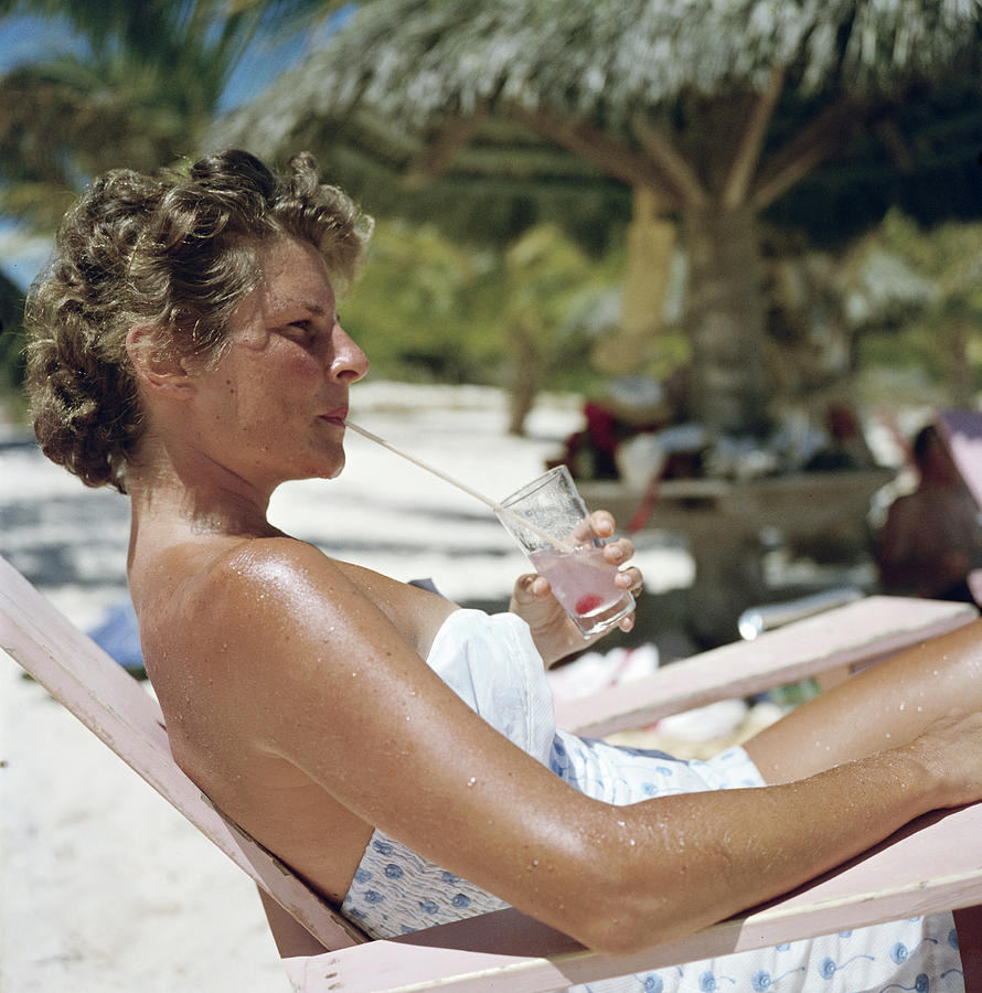 Beach Refreshment Photograph by Slim Aarons