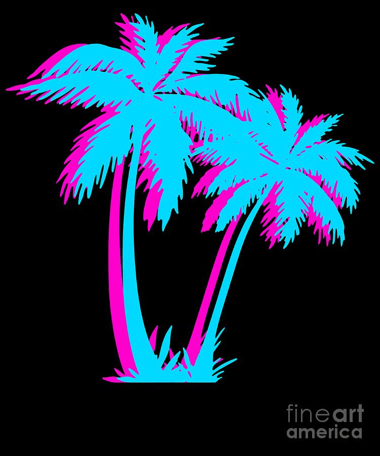 Beach Vaporwave Palm Tree Gift Aesthetic Tropical Palm Blue Pink Photograph By Dc Designs Suamaceir