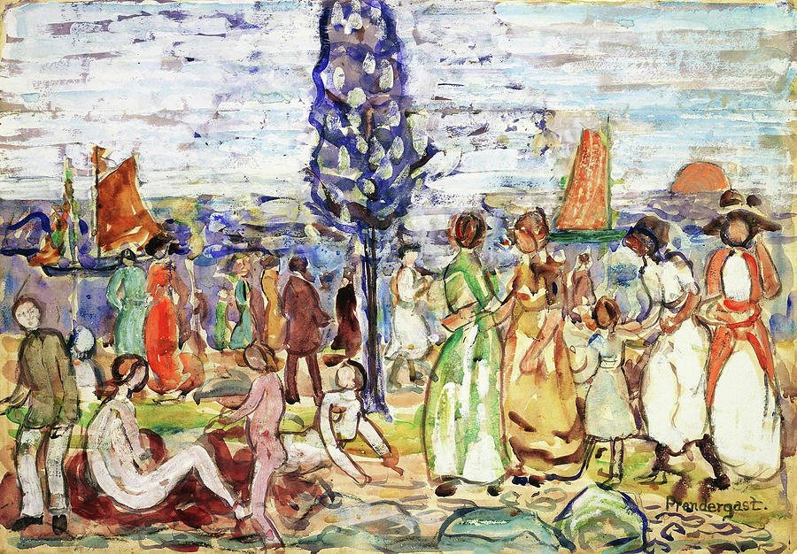 Usa Painting - Beach With Blue Tree - Digital Remastered Edition by Maurice Brazil Prendergast