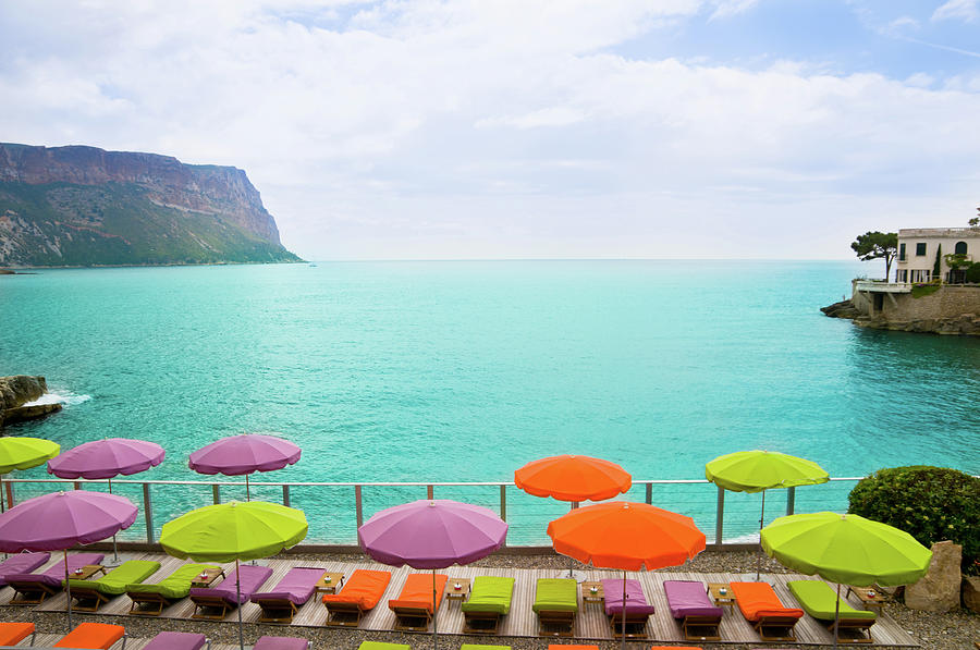 Beach With Parasol In Cassis, France Photograph by Mmac72