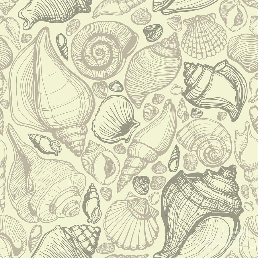 Beachy Seashell Pattern Digital Art by Juli-julia