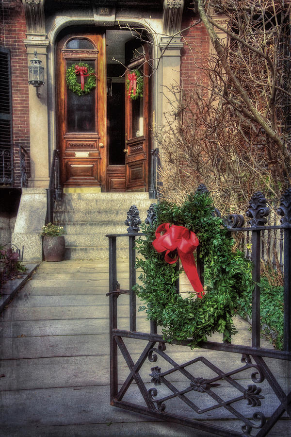 Beacon Hill Christmas Doorway by Joann Vitali