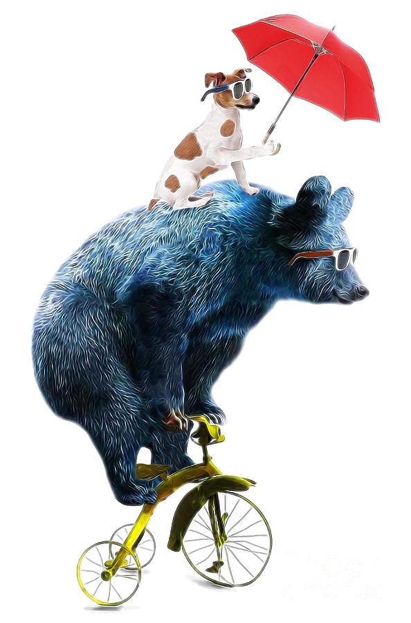 Fur Digital Art - Bear And Dog Circus Show Illustration by Studiolondon