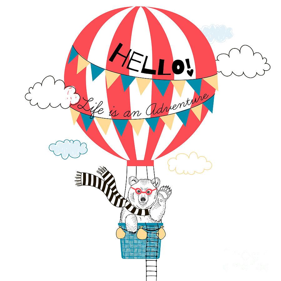 Fancy Digital Art - Bear Flying In Air Balloon, Animal by Olga angelloz