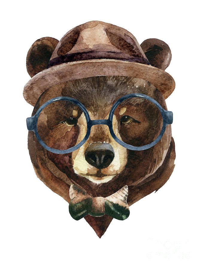 Bear Head Watercolor Digital Art by Tanya Syrytsyna