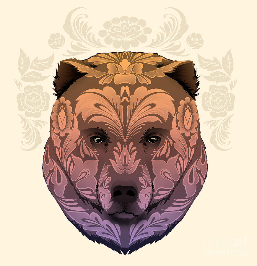 Symbol Digital Art - Bear Head With Floral Ornament by Best Works