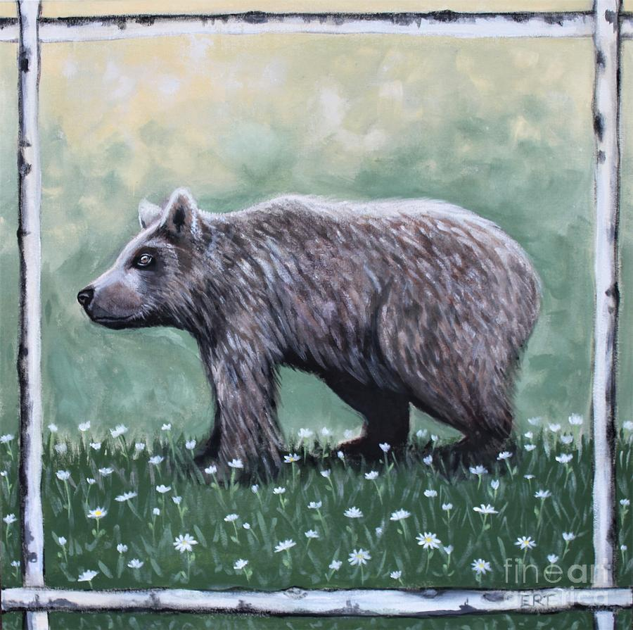 Bear in the Woods With Wildflowers by Elizabeth Robinette Tyndall