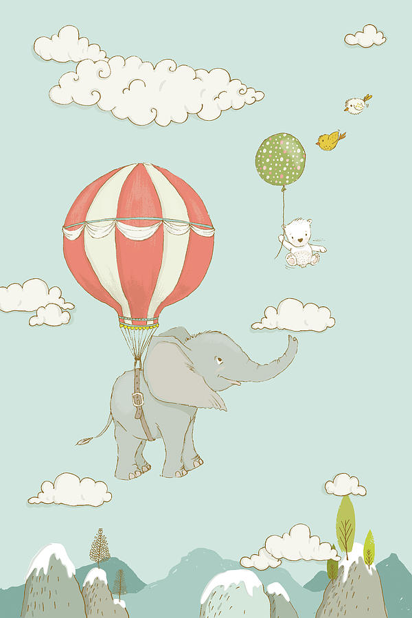 Floating Elephant and bear whimsical animals by Matthias Hauser