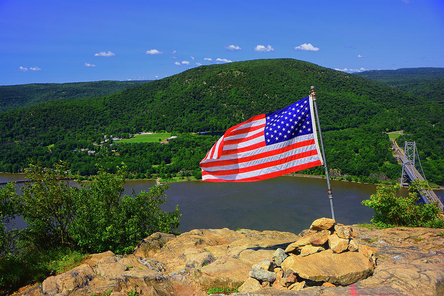 Bear Mountain, Bear Mountain Bridge, Appalachian Trail from Anthony's Nose With USA Flag by Raymond Salani III