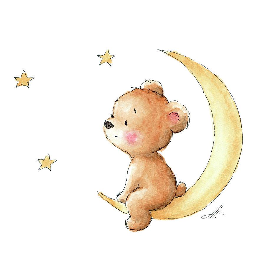 Baby Drawing - Bear Watching The Stars  by Anna Abramskaya