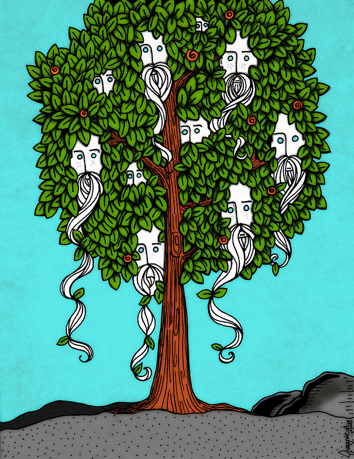 Tree Drawing - Beard Fruit Tree by Jayme Kinsey