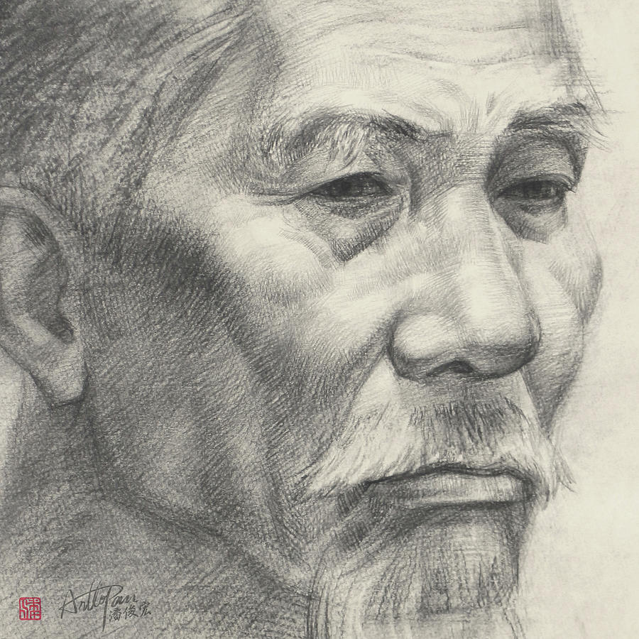 Bearded old mans head portrait part arttopan drawing portrait realistic carbon pencil sketch by artto pan