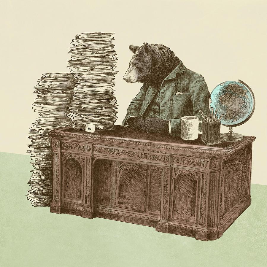 Bureaucrat Drawing - Bearocrat by Eric Fan