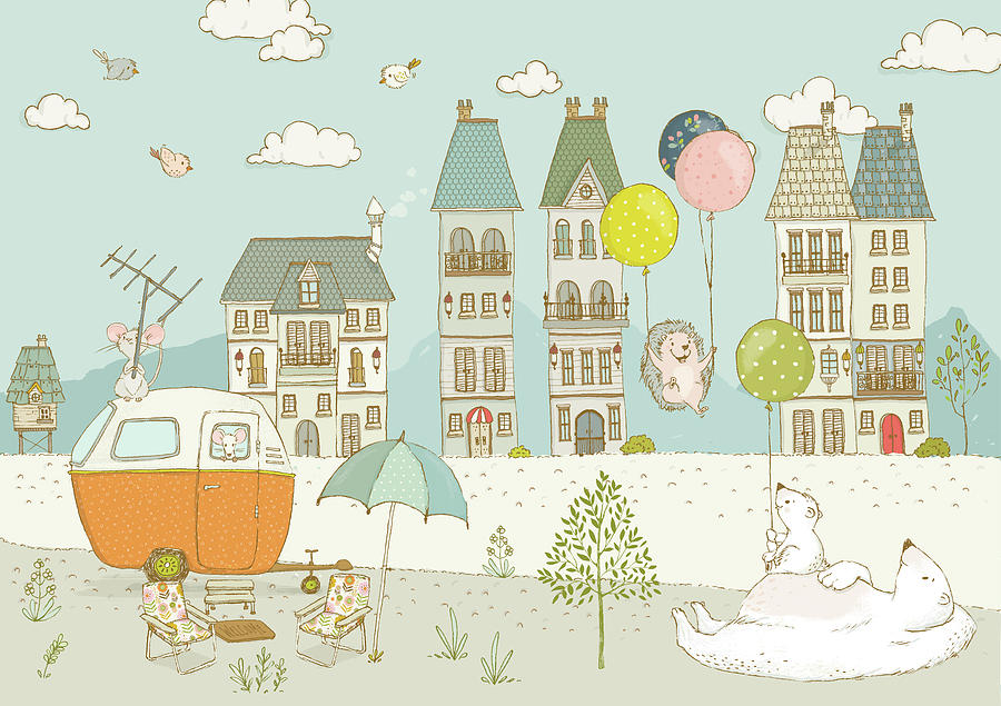 Bears and mice outside the city cute whimsical kids art by Matthias Hauser