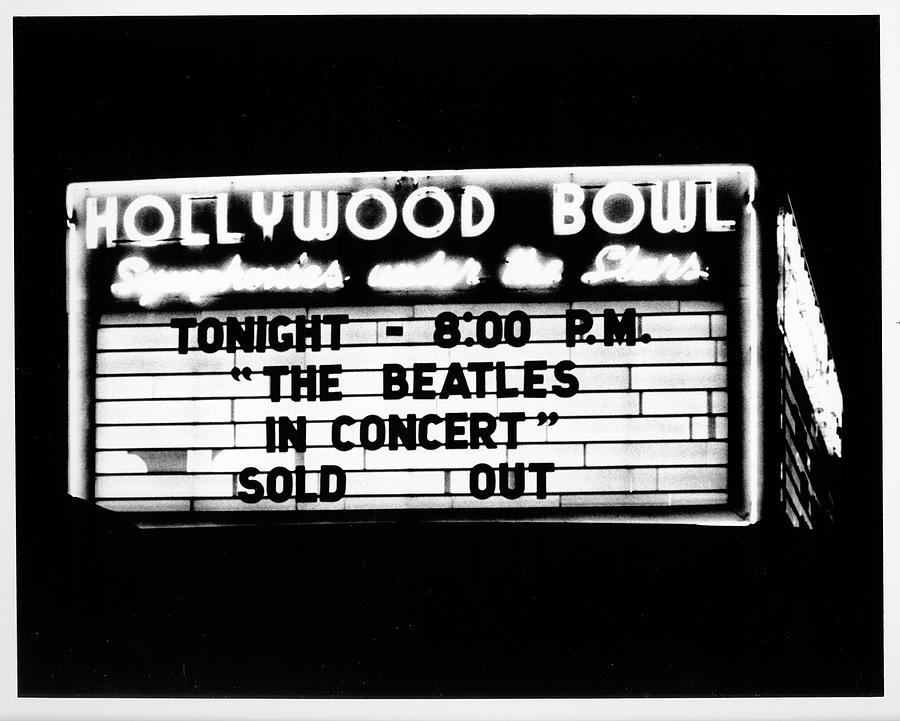 Rock Music Photograph - Beatles At The Hollywood Bowl Marquee by Michael Ochs Archives