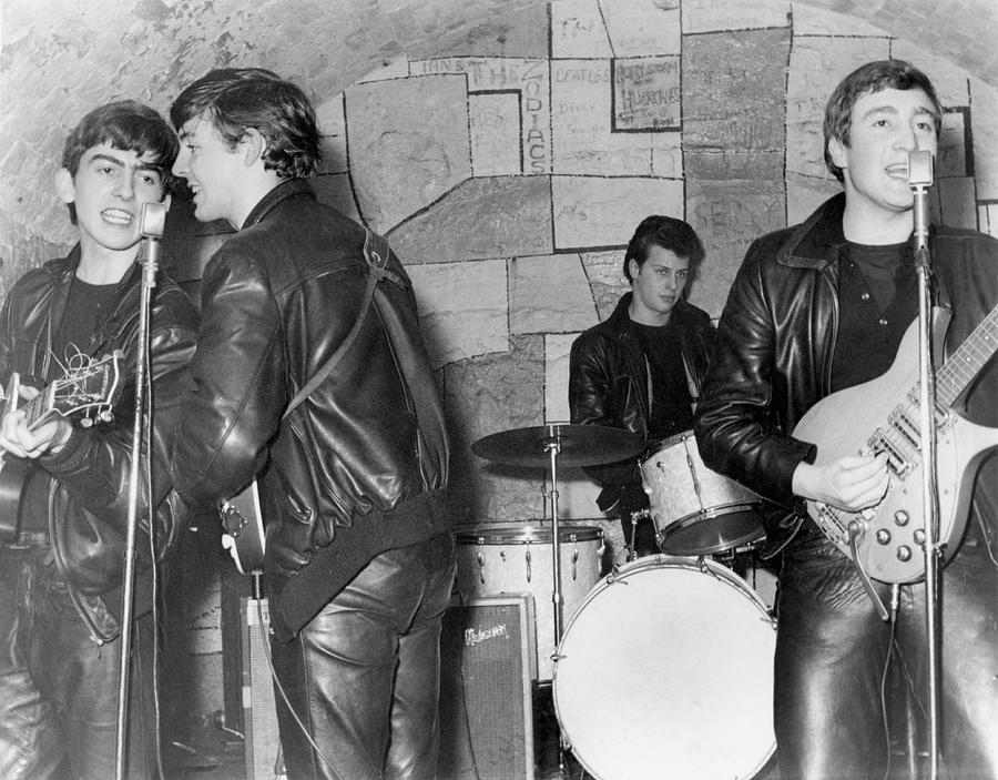 Rock Music Photograph - Beatles Performing At The Cavern Club by Michael Ochs Archives