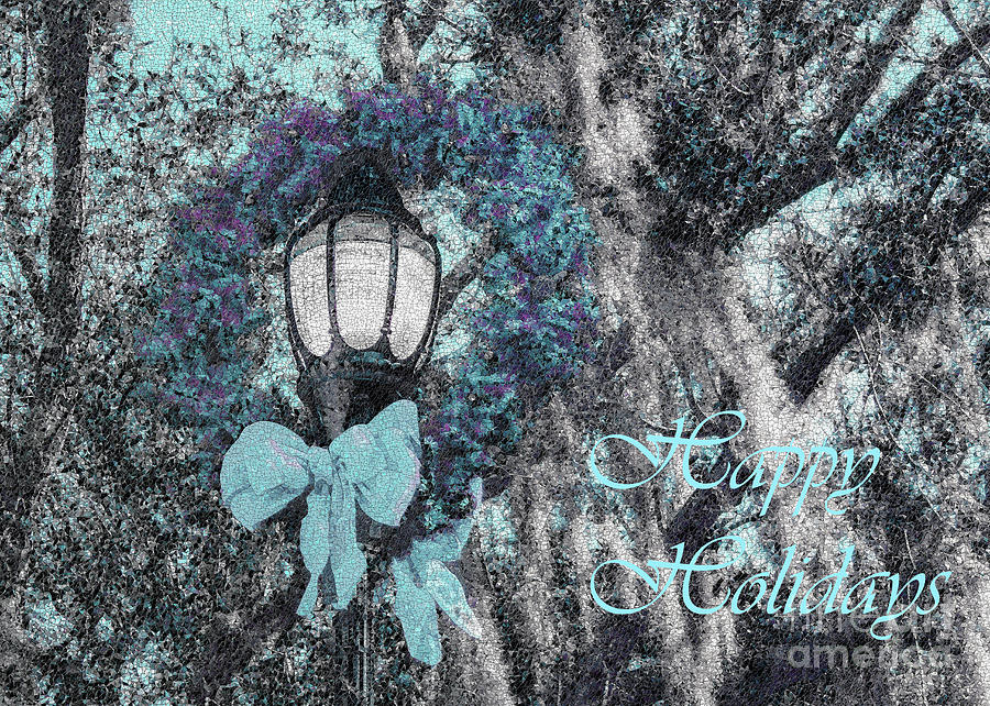 Happy Holidays Photograph - Beaufort On Holiday, Happy Holidays In Blue by Banyan Ranch Studios