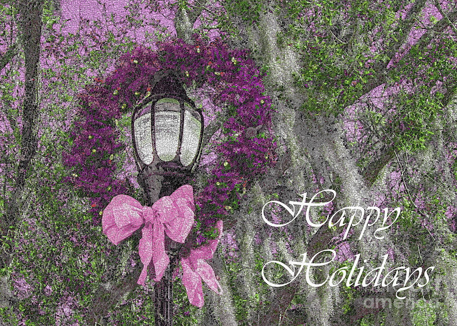 Holiday Photograph - Beaufort On Holiday, Pinks And Greens Happy Holidays by Banyan Ranch Studios