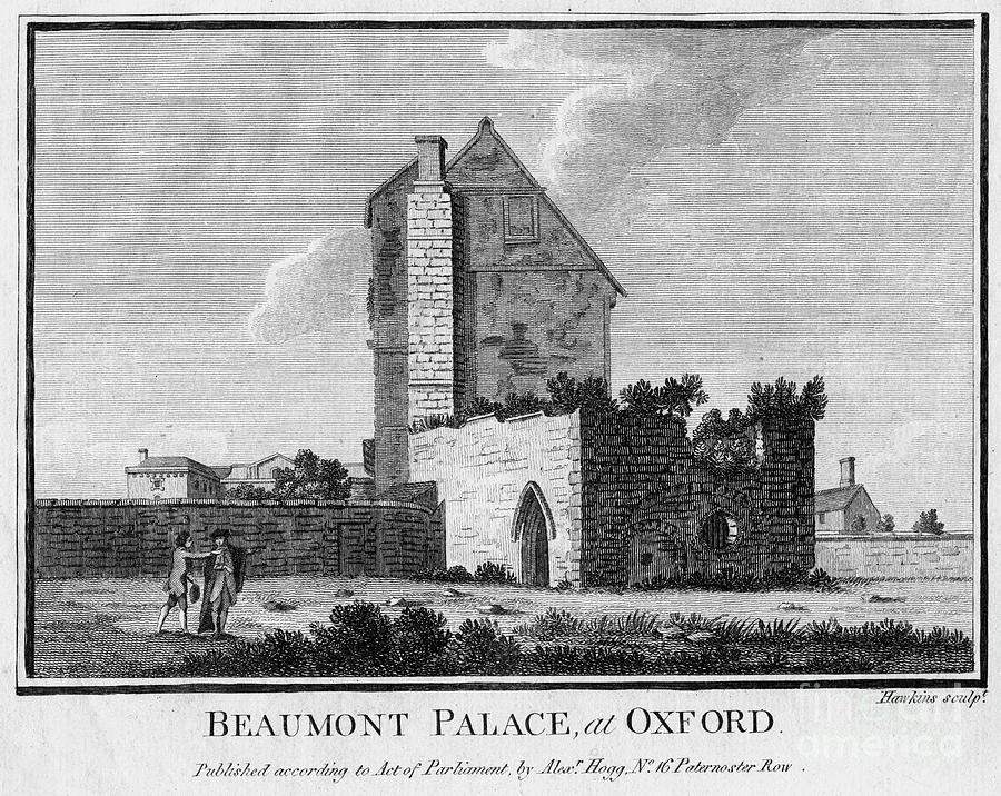 Beaumont Palace, Oxford. Artist Hawkins Drawing by Print Collector