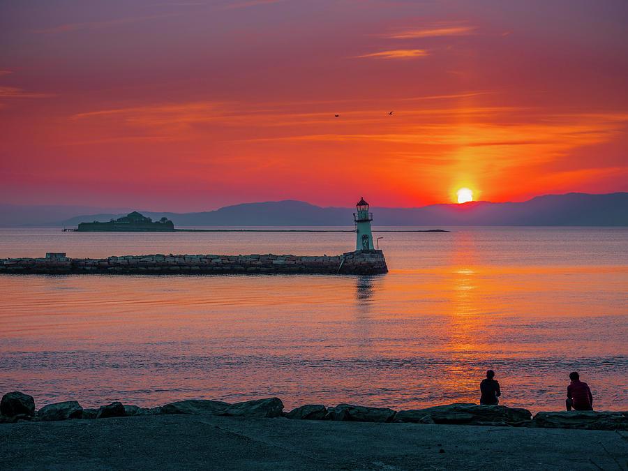 Beautiful and romantic Sunset Over Lade Lighthouse  Munkholmen by Aziz Nasuti